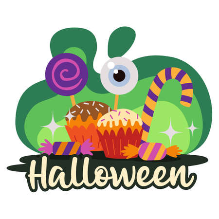 Halloween premade composition with sweets and candies. Vector Ilustração