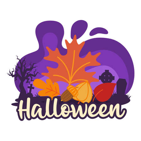 Halloween premade composition with autumn leaves. Vector