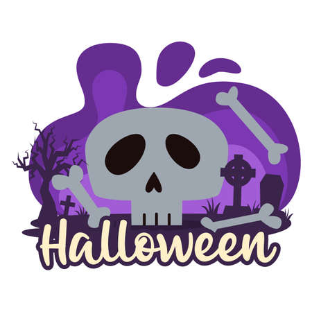 Halloween premade composition with graves, cemetery and skull. Vector