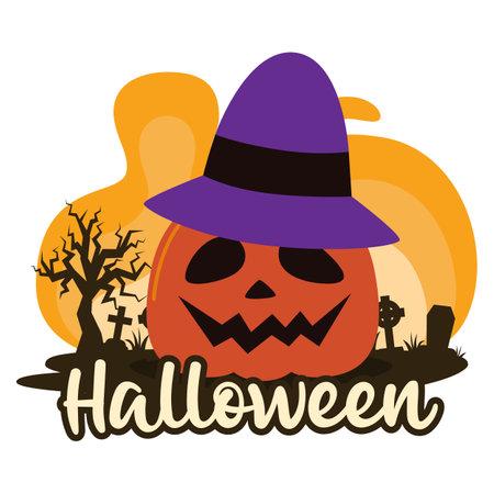 Halloween premade composition with pumpkin and cemetery. Vector Ilustração