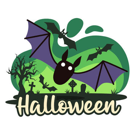 Halloween premade composition with cemetery and bats. Vector