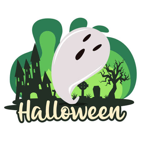 Halloween premade composition with cemetery and ghosts. Vector Illustration
