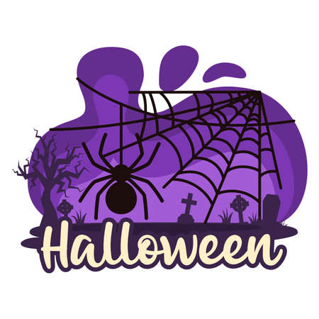 Halloween premade composition with cobweb and spider. Vector