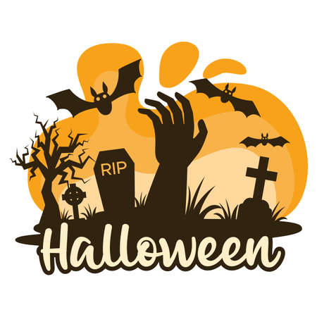 Halloween premade composition with graves, cemetery and zombie hand. Vector