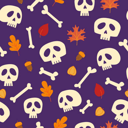 Halloween seamless pattern with skull and bones. Vector