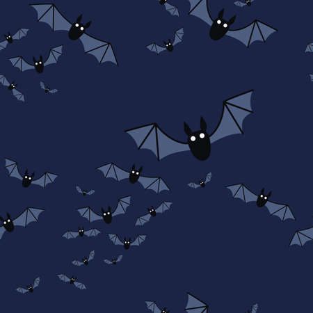 Halloween seamless pattern with flying bats. Vector