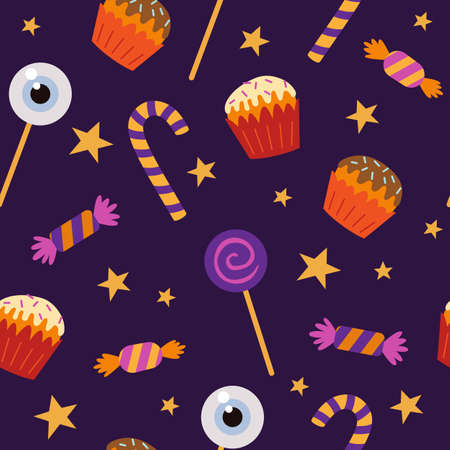 Halloween seamless pattern with sweets and candies. Vector