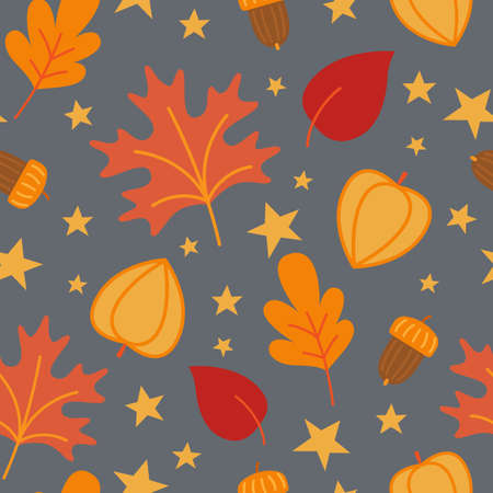 Halloween seamless pattern with with autumn leaves. Vector Illustration