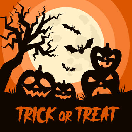 Happy Halloween background with Halloween elements, moon, pumpkins, bats and place for text. Halloween party poster. Vector Illustration