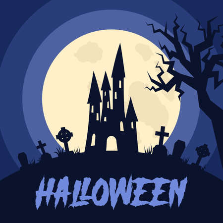 Happy Halloween background with Halloween elements, castle, graves, cemetery. Halloween party poster. Vector