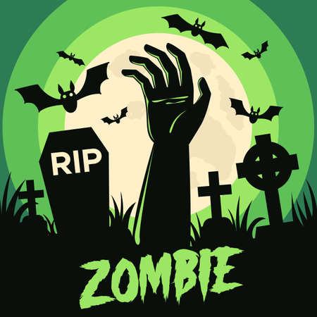 Happy Halloween background with Halloween elements, graves, cemetery and zombie hand. Halloween party poster. Vector Illustration