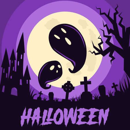 Happy Halloween background with Halloween elements, castle, graves, cemetery and ghosts. Halloween party poster. Vector
