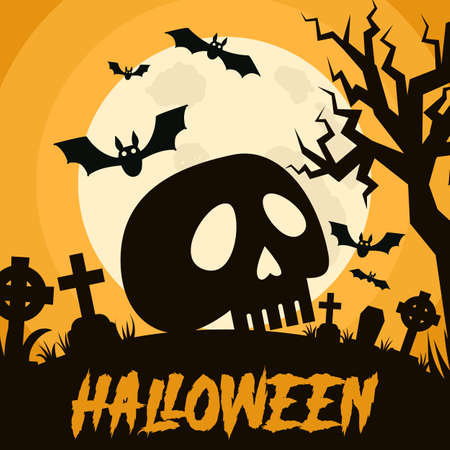 Happy Halloween background with Halloween elements, graves, cemetery and skull. Halloween party poster. Vector Illustration