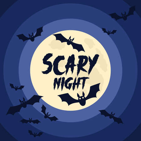 Happy Halloween background with Halloween elements, moon, bats and place for text. Halloween party poster. Vector Illustration
