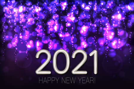 Happy New Year 2021 shining background with purple glitter and confetti. Vector