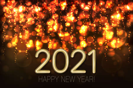 Happy New Year 2021 shining background with gold glitter and confetti. Vector