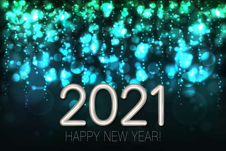 Happy New Year 2021 shining background with turquoise glitter and confetti. Vector