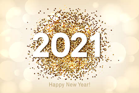 Happy New Year 2021 background with multicolored glitter and confetti. Vector
