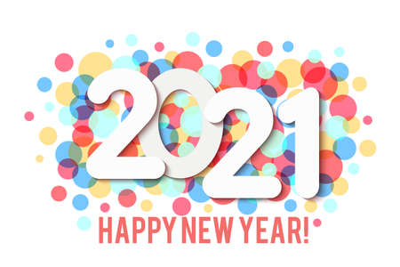 Happy New Year 2021 background with multicolored confetti. Vector