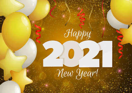Happy New Year 2021 greeting banner. Festive background with colorful confetti, party popper and sparkles. Vector Illustration