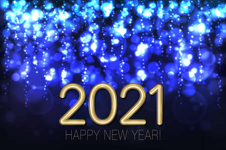 Happy New Year 2021 shining background with blue glitter and confetti. Vector