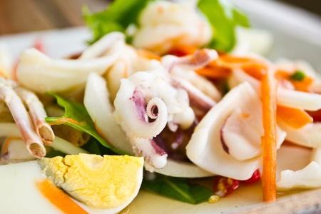 seafood salad: Thai spicy seafood Salad  Stock Photo