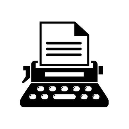 old typewriter: write secretarial machine icon