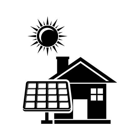 solar cell: solar cell - house and sun icon