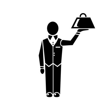 waiter tray: waiter icon Illustration