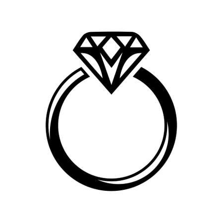 ダイヤモンド リング アイコン  イラスト・ベクター素材