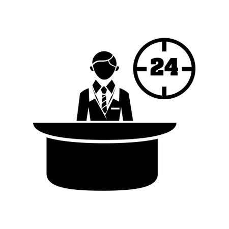 hotel staff: reception desk icon Illustration