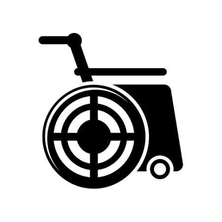 silla de ruedas: Icono de ruedas Vectores