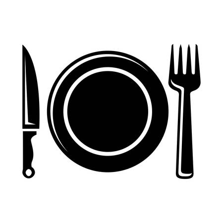 dinnerware: Place setting with plate, knife and fork