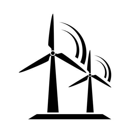 molino: Molino de viento icono Vectores