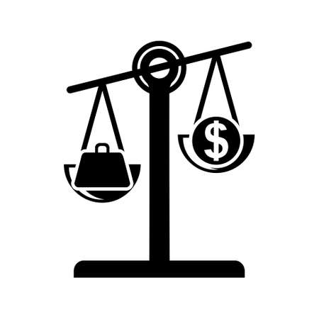 scale icon: dollar weight scale   icon Illustration