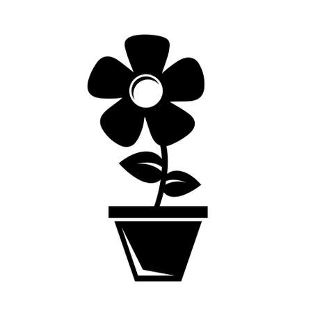 flower in pot: Flower in a pot icon Illustration