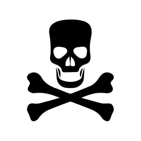 mortal danger: Black skull and cross-bones - sign of danger Illustration