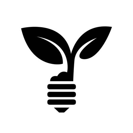 growing plant: green eco energy concept, plant growing inside the light bulb