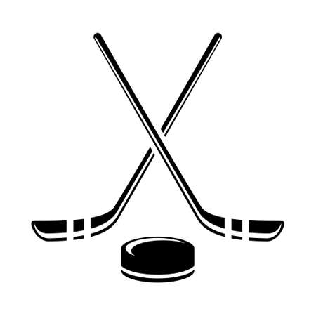 Vector crossed hockey sticks and puck icon set