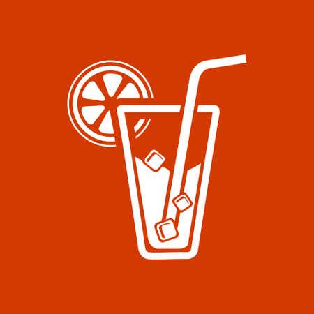 champagne orange: juice glass icon Illustration
