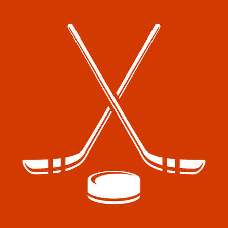 end of the world: Vector crossed hockey sticks and puck icon set