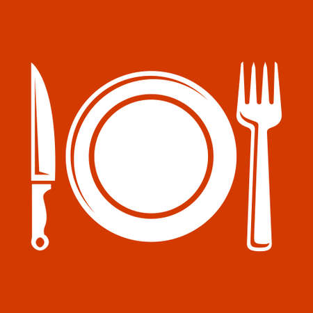plate setting: Place setting with plate, knife and fork