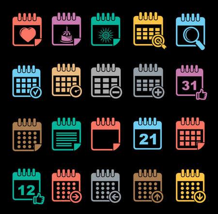 Colorful calendar icon set