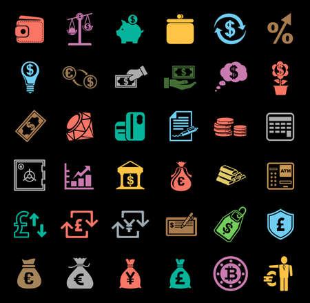 Money icons set Banque d'images - 95661994