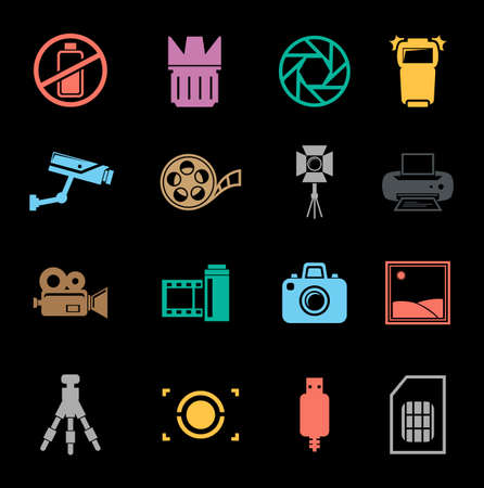 Photography icons set Banque d'images - 95646083