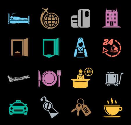 Colorful hotel icon set