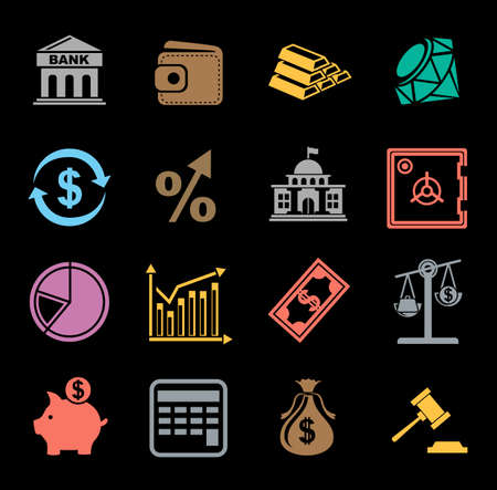 investment icons set Vector illustration. Иллюстрация