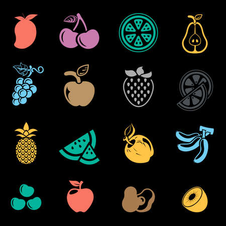Fruit icon set Banque d'images - 95646084
