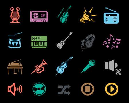 Music icons set Banque d'images - 95661996