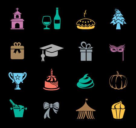 Celebration icons set Vector illustration. Иллюстрация